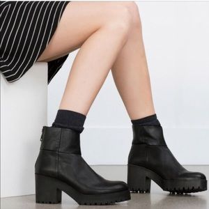 Zara Black Leather Chunky Heel Booties